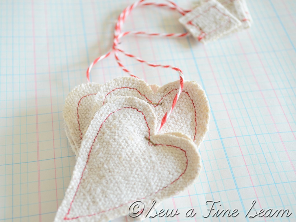 white grain sack heart tea bags