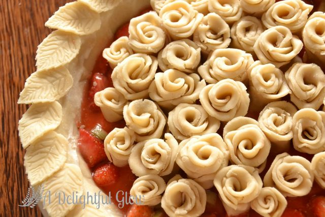 Strawberry Rhubarb Pie with Pie Crust Roses
