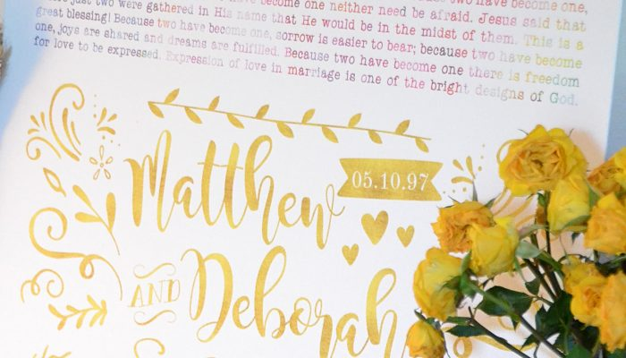 Standard Canvas Marriage Vow Decor